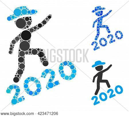Mosaic Gentleman Climbing 2020 Icon Composed Of Circle Elements In Random Sizes, Positions And Propo