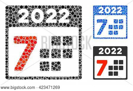 Collage 2022 Year 7 Days Icon Composed Of Round Elements In Random Sizes, Positions And Proportions.