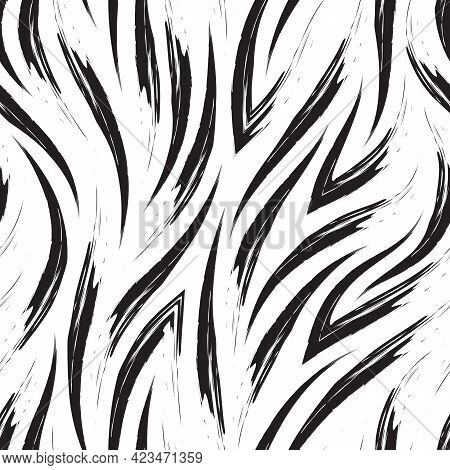 Vector Simple Monochrome Pattern Of Flowing Lines And Corners Or Waves.vector Black Pattern Of A Riv