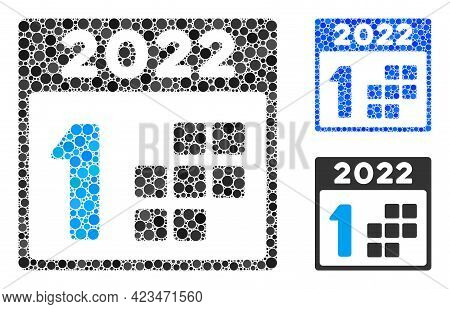 Mosaic 2022 First Day Icon Composed Of Round Items In Variable Sizes, Positions And Proportions. Blu