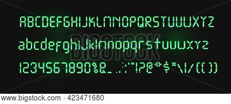 Digital Green Font Isolated On A Dark Background. Glowing Realistic Digital Alphabet. Alarm Clock Le