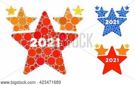 Collage 2021 Star Hit Parade Icon Composed Of Circle Items In Different Sizes, Positions And Proport