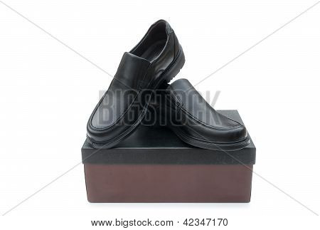 Shoebox And Black Leather Shoes For Man With Clipping-path