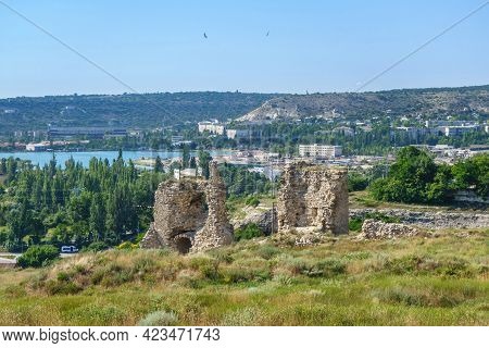 Panorama Of Medieval Towers Of Kalamita, Fortress Founded By Byzantines. It Was Built Above Cliff Hi