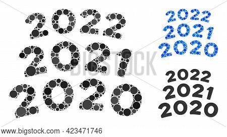 Mosaic 2020 - 2021 Arc Texts Icon Constructed From Circle Elements In Various Sizes, Positions And P