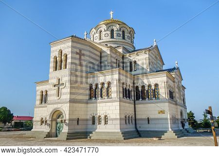 Building Of Saint Vladimir Cathedral Or Chersonesus Cathedral, Sevastopol, Crimea. It Was Founded In