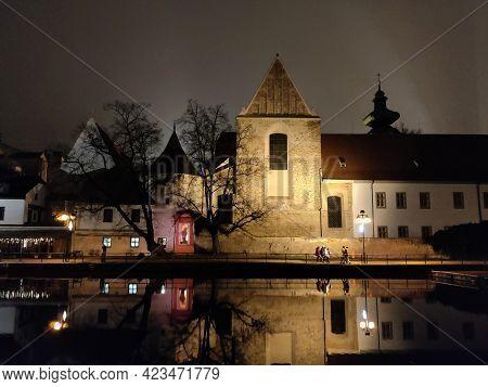 Ceske Budejovice, Czech Republic - December 18, 2020: Temple Of The Sacrifice Of The St. Mary Seen F