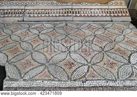 Floor Mosaics From Church Of Byzantine Period (circa Vi Ad). Geometric Ornaments From Combinations O