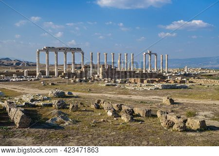Panoramic View Onto Streets Of Laodicea, Ancient City Near Denizli, Turkey. There Are Colonnade Arou