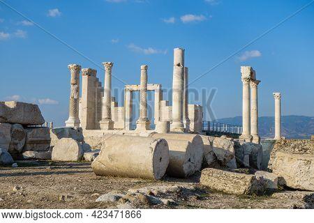 Remains Of Antique Columns & Its Parts Onto Streets Of Laodicea, Ancient City Near Denizli, Turkey.