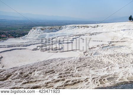 Panoramic View Onto Travertine Terraces Of Pamukkale, Turkey. These Are Unesco Objects, Popular Amon