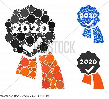 Mosaic 2020 Approve Award Icon Composed Of Spheric Elements In Different Sizes, Positions And Propor