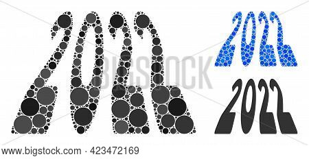 Mosaic 2022 Perspective Digits Icon Composed Of Circle Elements In Variable Sizes, Positions And Pro