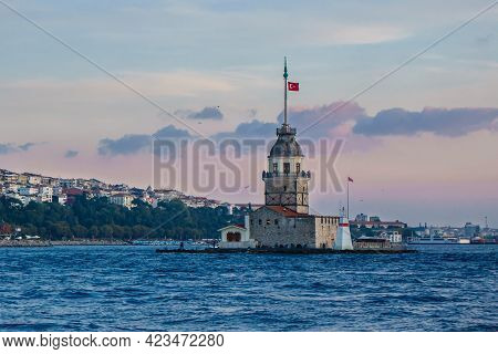 Island Of Maiden's Tower, Probably Most Known Lighthouse Of Bosphorus Strait In Istanbul, Turkey. It