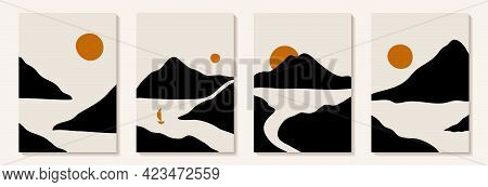 Abstract Art Mountain Black And White Modern Style. Modern Art Graphic Background. Abstract Geometri