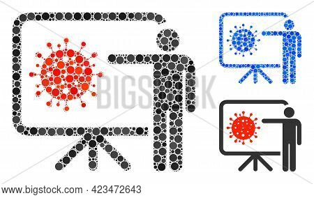 Collage Coronavirus Lecture Icon Organized From Circle Elements In Random Sizes, Positions And Propo