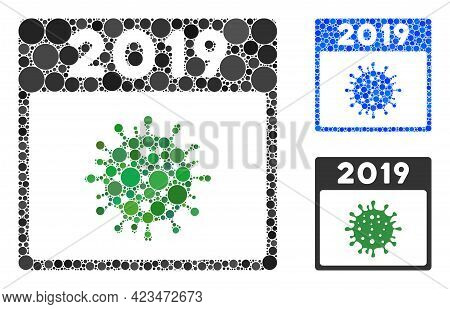 Mosaic 2019 Covid Calendar Day Icon Composed Of Round Items In Random Sizes, Positions And Proportio