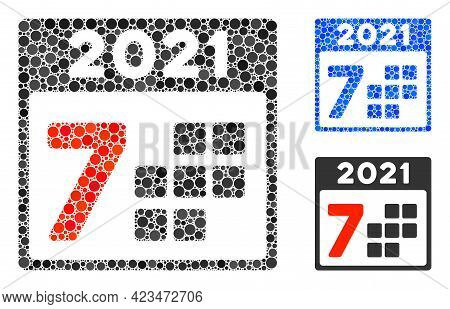 Collage 2021 Year 7 Days Icon United From Spheric Items In Variable Sizes, Positions And Proportions