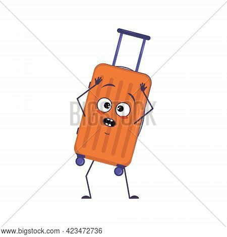 Cute Character Of Vacation Suitcases With Emotions In A Panic Grabs His Head, Face, Arms And Legs. T