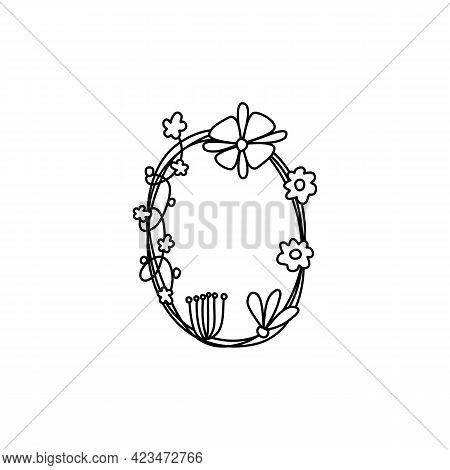 Vintage Floral Bold Letter O Logo Spring. Classic Summer Letter Design Vectors With Black Color And