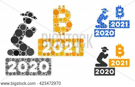 Mosaic Gentleman Pray Bitcoin 2021 Icon Composed Of Circle Items In Various Sizes, Positions And Pro