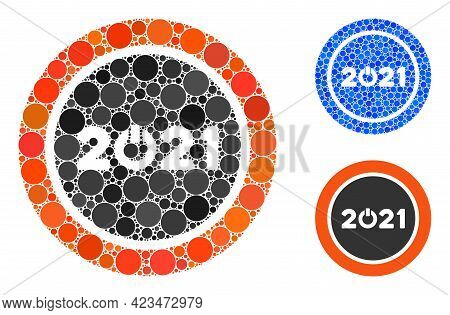 Collage Start 2021 Round Button Icon Constructed From Round Items In Random Sizes, Positions And Pro