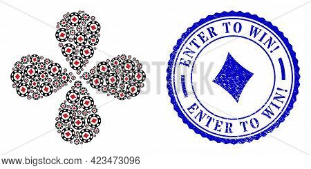 Diamonds Casino Chip Explosion Flower Shape, And Blue Round Enter To Win Exclamation Unclean Seal Wi