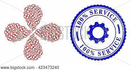 Forbidden Repair Swirl Flower Shape, And Blue Round 100 Percents Service Dirty Badge With Icon Insid