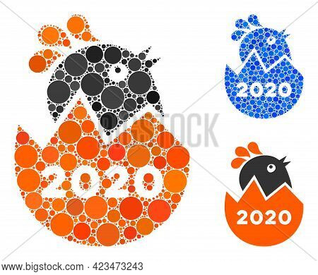Collage 2020 Hatch Chick Icon Constructed From Circle Elements In Variable Sizes, Positions And Prop