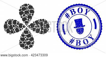 Man Head Profile Rotation Flower With Four Petals, And Blue Round Hashtag Boy Grunge Stamp Seal With