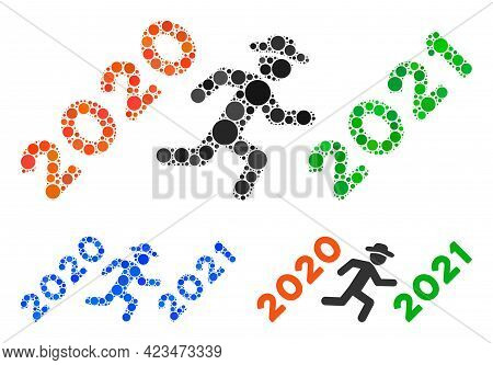 Mosaic Gentleman Run To 2021 Icon Composed Of Spheric Elements In Different Sizes, Positions And Pro