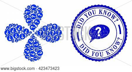 Query Rotation Flower Shape, And Blue Round Did You Know Query Grunge Stamp Imitation With Icon Insi