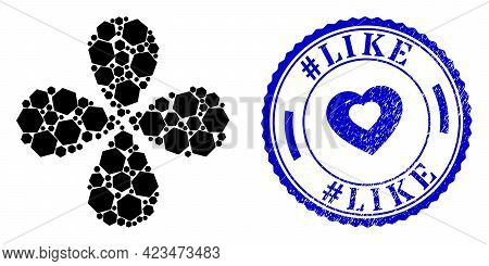 Rounded Hexagon Exploding Flower With Four Petals, And Blue Round Hashtag Like Textured Stamp With I
