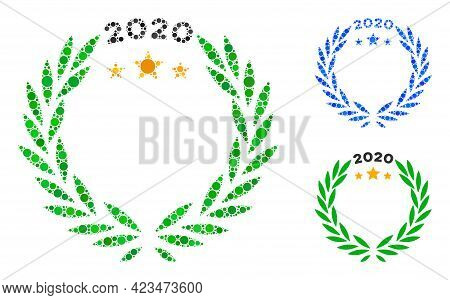 Collage 2020 Laurel Wreath Icon Composed Of Spheric Elements In Different Sizes, Positions And Propo