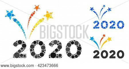 Collage 2020 Fireworks Icon Composed Of Spheric Items In Random Sizes, Positions And Proportions. Bl