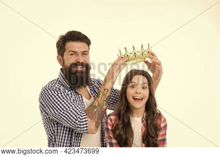 Born To Shine. Father Reward Small Child With Crown. Happy Girl Got Crown Reward. Beauty Queen. Priz