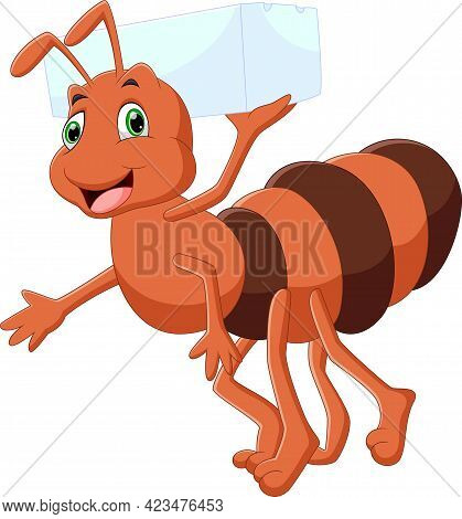 Cartoon Cute Ant Carrying Sugar On White Background