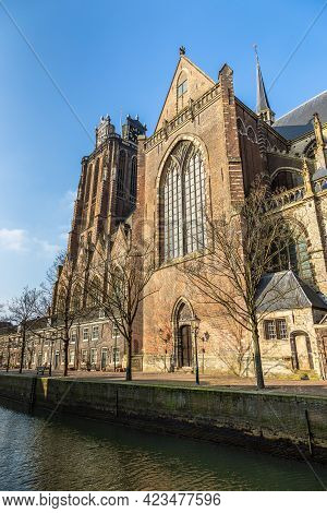 View Of The Dordrecht Minster Or Church Of Our Lady, Grote Kerk. Large Church In The Brabantine Goth
