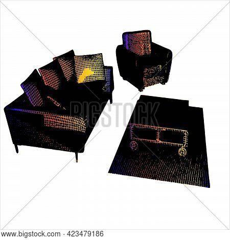 3d Armchair And Sofa Illustration. 3d Greed Armchair Cartoon