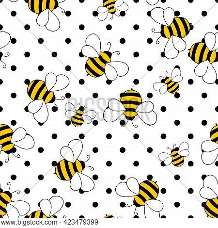 Seamless Pattern With Bees On White Polka Dots Background. Small Wasp. Vector Illustration. Adorable