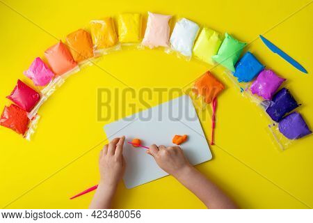 Air Plasticine Mass For Modeling Painted Ultralight Plasticine, All Colors Rainbow Spread Out On Yel