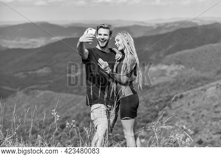 Lets Take Photo. Capturing Beauty. Man And Woman Posing Mobile Photo. Couple Taking Photo. Summer Va