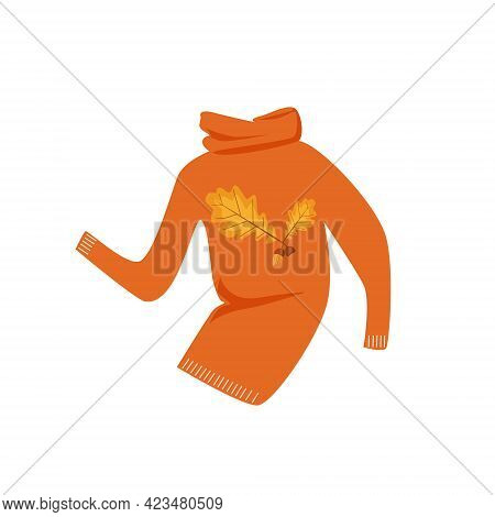 Autumn Orange Sweater With A Pattern Of Oak Leaves And Acorns, Isolated On A White Background. Autum