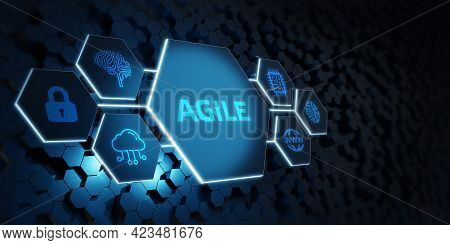 Business, Technology, Internet And Network Concept. Agile Software Development.3d Illustration