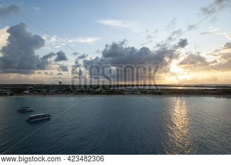 The Morning View Of Cloudy Sky And The First Sunlight Over Grand Turk Island (turks And Caicos Islan