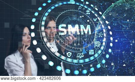 Business, Technology, Internet And Network Concept. Smm Social Media Marketing