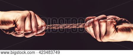Rope, Cord. Hand Holding A Rope, Climbing Rope, Strength And Determination