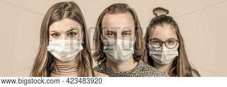 Crowd Of People Wearing Medical Masks. Coronavirus Epidemic Concept. Group Of People Wearing Protect