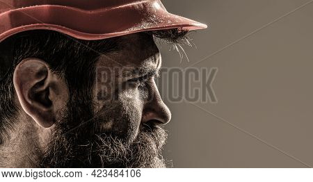 Bearded Man Worker With Beard In Building Helmet Or Hard Hat. Man Builders, Industry. Builder In Har