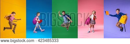 Back To School! Collage Of 5 School Children On A Colorful Paper Wall Background. Children With Back